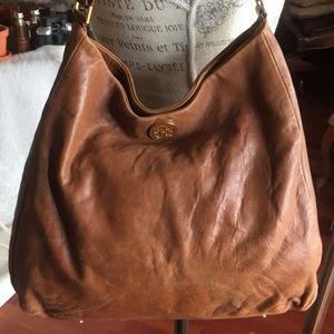 Tory Burch Slouchy Brown Leather Hobo Bag
